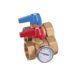 """Kogelkraan 1""""F met wartelmoer 1""""F, dichting en thermometer"""